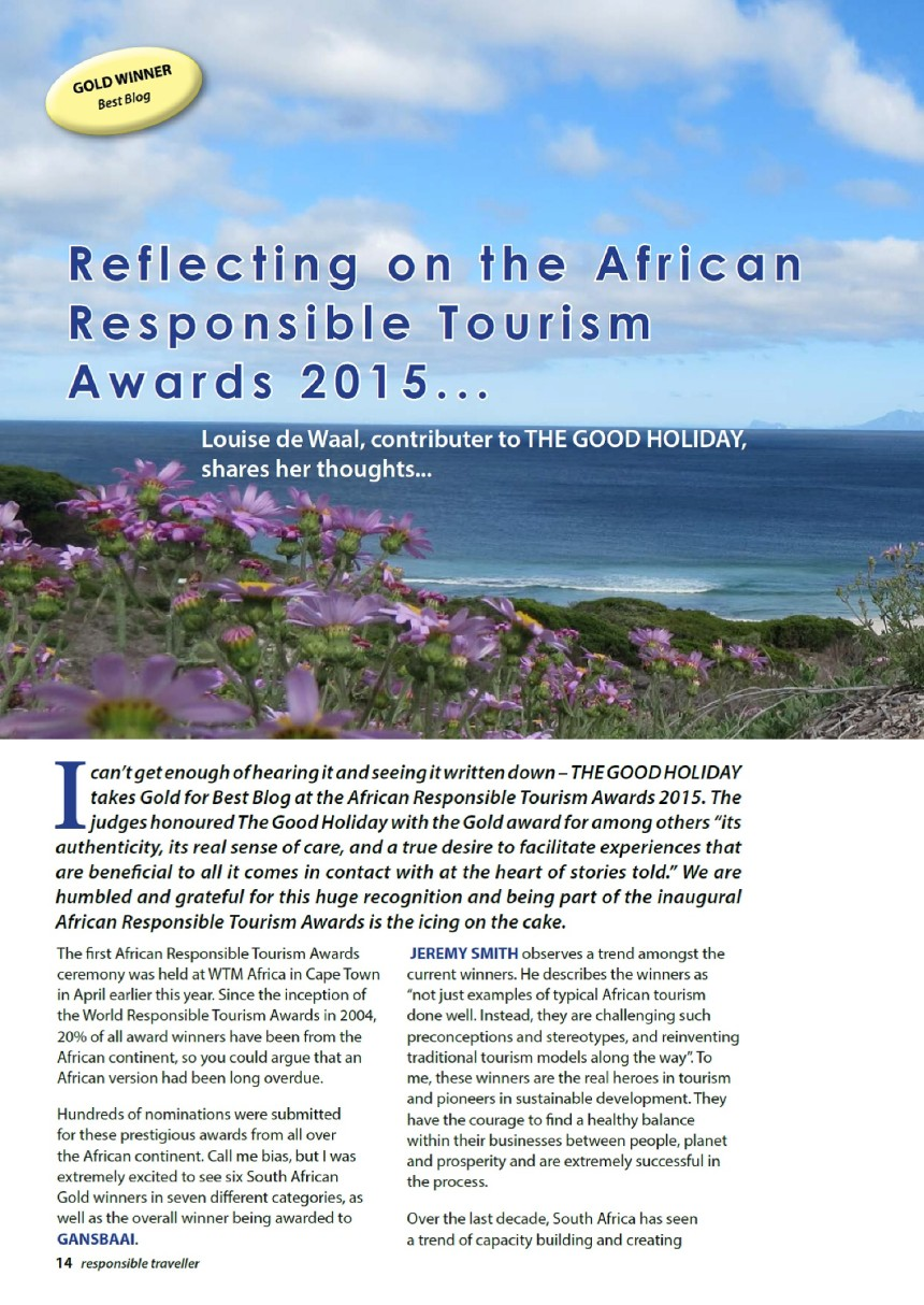 Reflections on the African Responsible Tourism Awards 2015