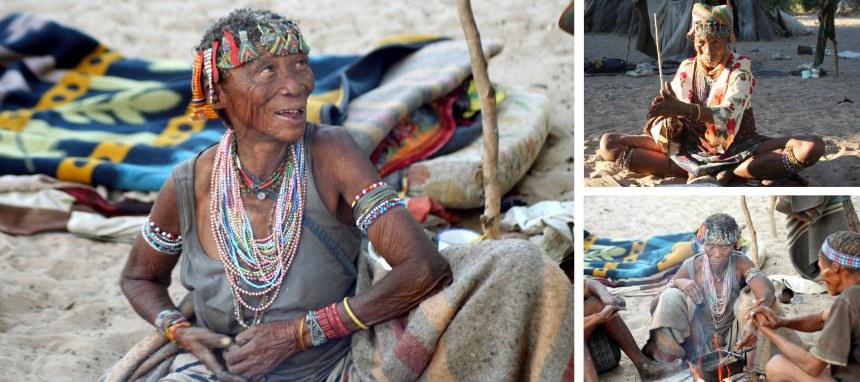 San people Nhoma Safari Camp Namibia Making Beads