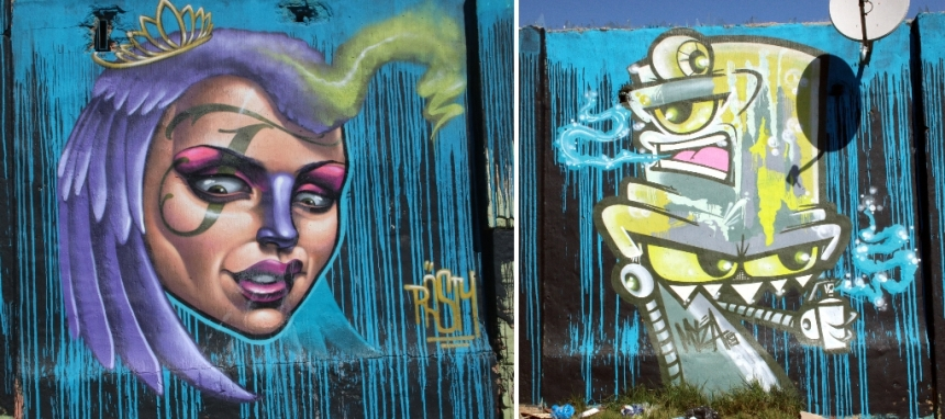 Graffiti by Rasty and Myza on the same wall