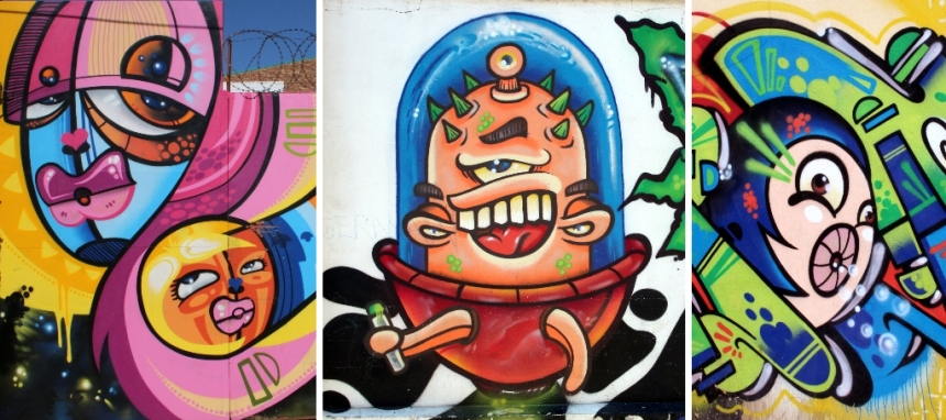 Three separate pieces of street art by Mars (aka Mr Morris)