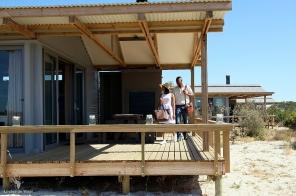 Deck in front of eco-cabin Rocherpan