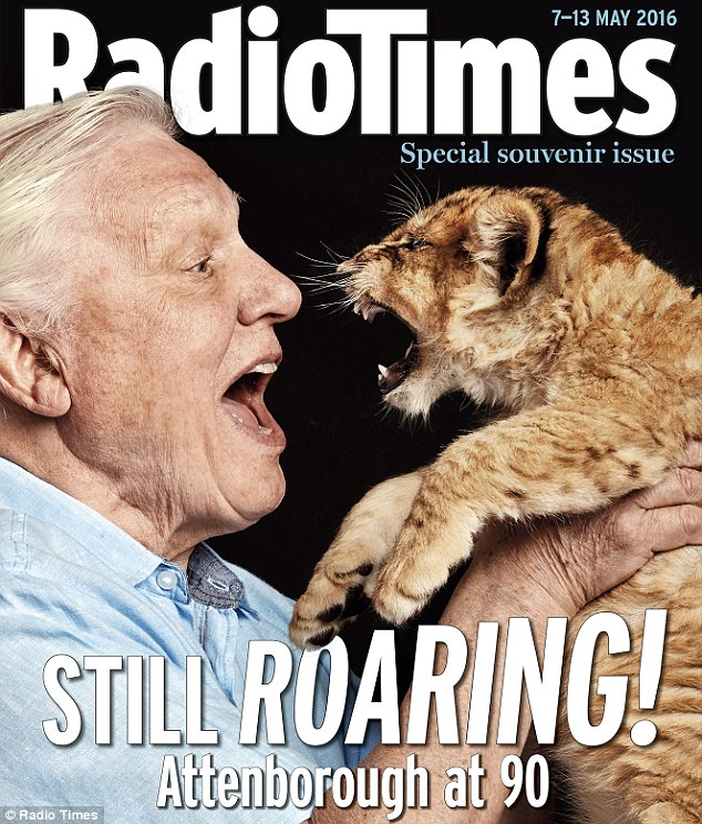 Sir David Attenborough on the front of the Radio Times in celebration of his 60th birthday