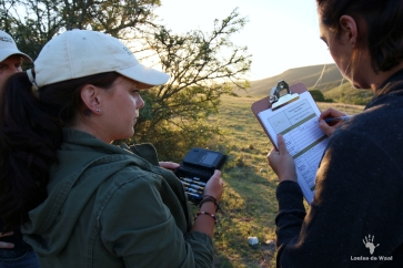 Stevie Strydon helping to set up camera traps at Tented Eco Camp, Gondwana