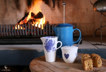 Cozy winter's day with coffee by the fire at India House