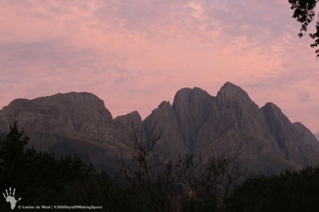 Sunset over Jonkershoek, Stellenbosch