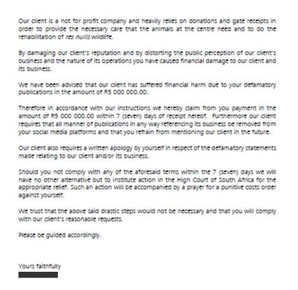 Defamation charges letter 2