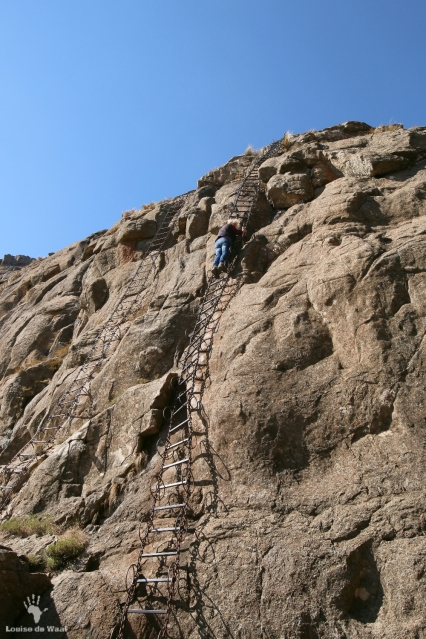 First chain ladder on hike in Drakensberg