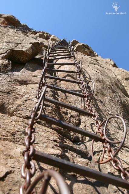 First chain ladder on hike in Drakensberg