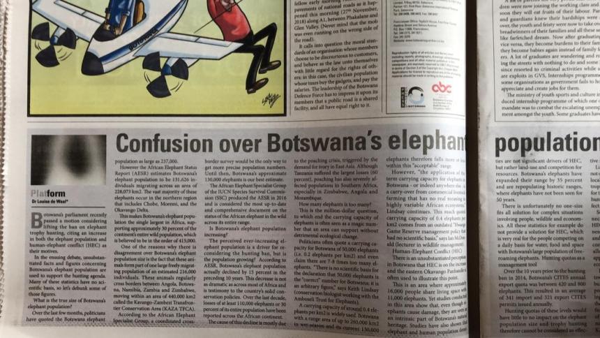 Bots elephant population - Botswana Guardian (1 Dec 2018)